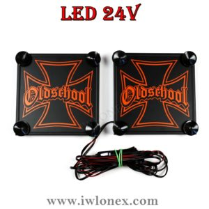 IMG 0884 300x300 - 1 Paar LKW LED Leuchtschilder 24V Eiserne Kreuz Orange UNIVERSAL